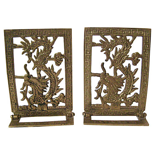 Brass Dragon Bookends, Pair