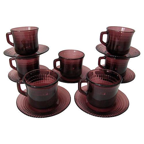 Amethyst Glass Teacup Set, 14 Pcs