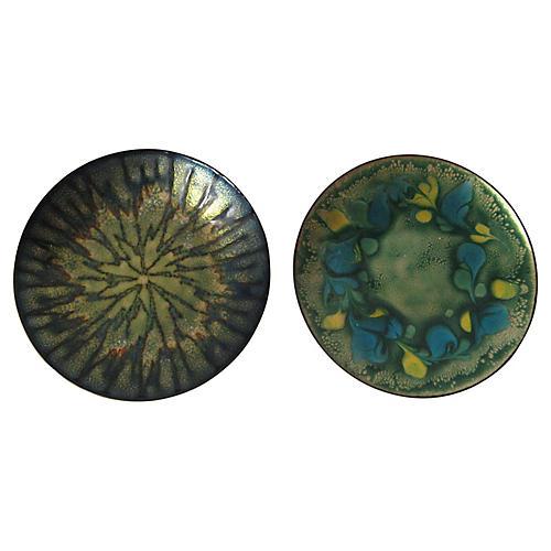 Enamel on Copper Plates, Pair