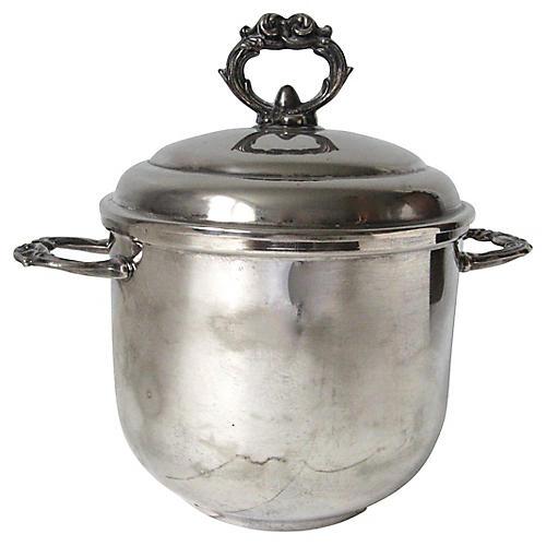 Silver-Plate & Milk Glass Ice Bucket