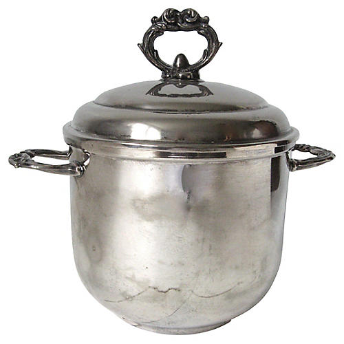 Silver-Plate & Milk Glass Ice Bucket