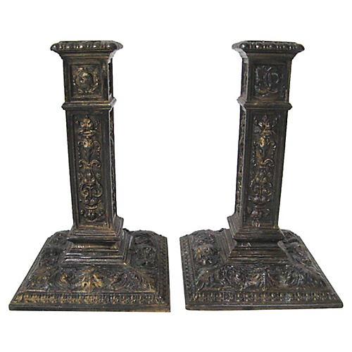 1909 Figurative Candlesticks, Pair