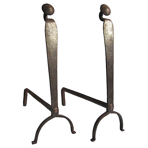 18th-C. Gooseneck Andirons, Pair