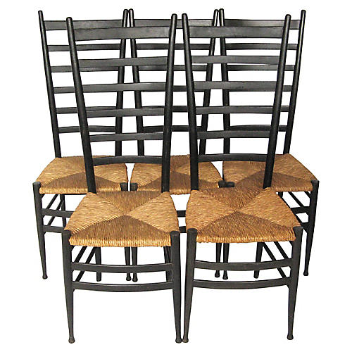 Gio Ponti-Style Italian Chairs, Set of 5
