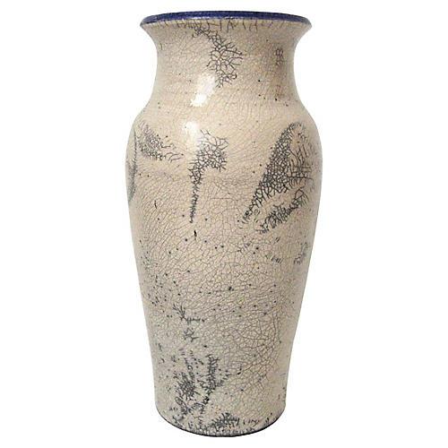 Signed Raku Crackle Vase
