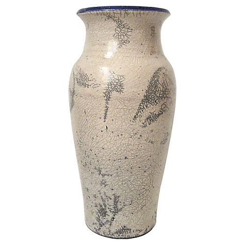 Signed Raku Crackle Vase