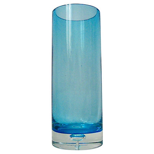 Heavy Turquoise Glass Bubble Vase