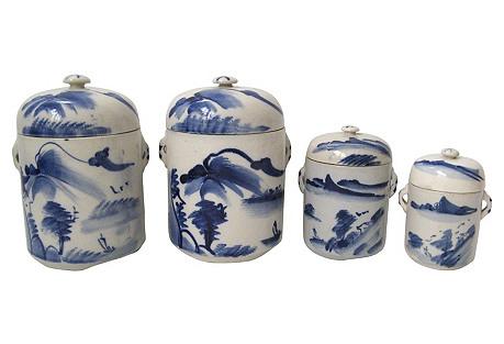 Blue & White Chinese Jars, Set of 4