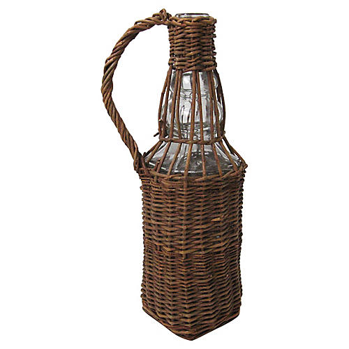 Square Wicker-Wrapped Bottle