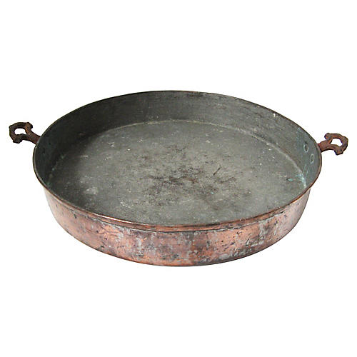Antique Copper Sauteuse Pan