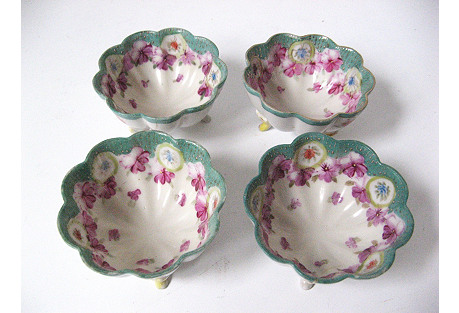 19th-C. English Footed Relish Bowls, S/4