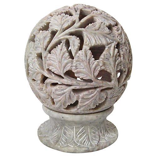 Carved Stone Votive Holder