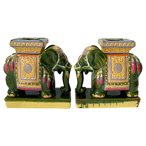 Ceramic Elephants, Pair