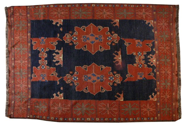 Antique Kazak Rug, 5' x 7'