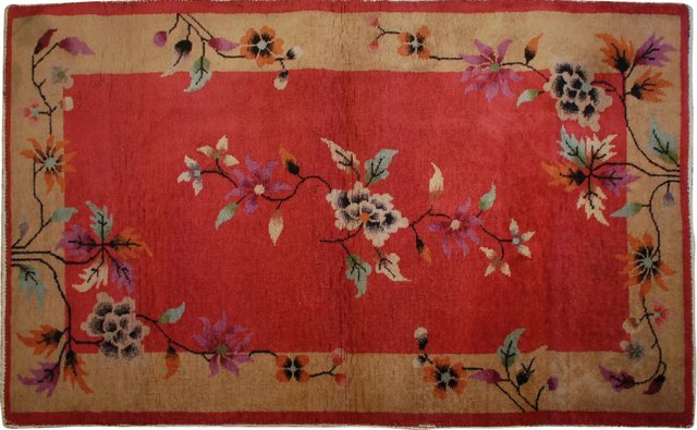 "Chinese Art Deco Carpet, 3' x 4'9"""