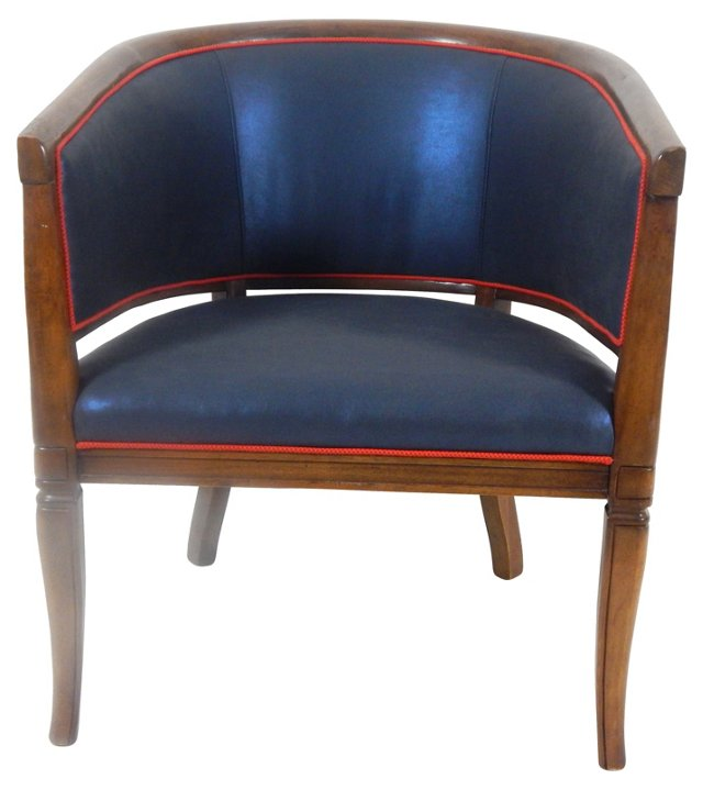 Navy w/ Red Welt Horseshoe Chair