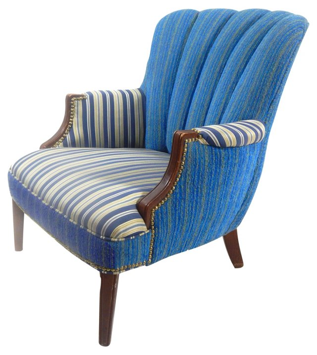 Channel-Back Blue-Stripe Club Chair