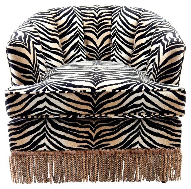 Channel-Back Tiger-Print Club Chair
