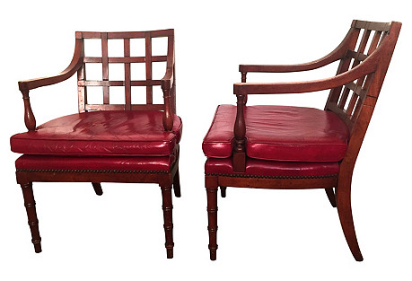 Barnard & Simonds Red Leather Chairs, Pr