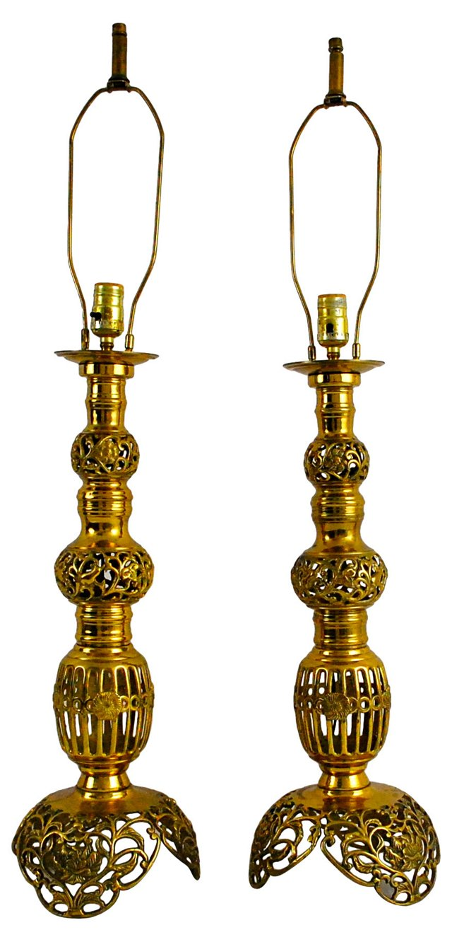 Moroccan-Style Brass Lamps, Pair