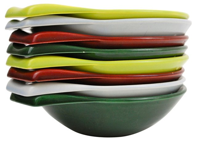 Colorful Ceramic Stacking Bowls, S/8