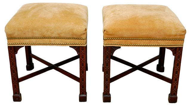 Chippendale-Style  Stools, Pair