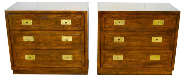 Henredon Campaign-Style Chests, Pair