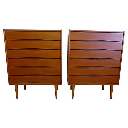 Danish Modern Dressers, Pair
