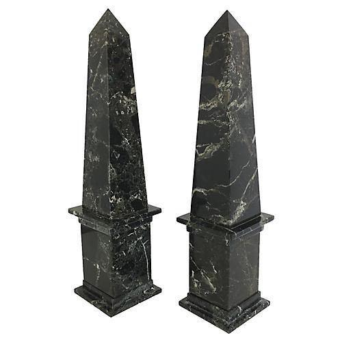 Vintage Marble Obelisks, pair