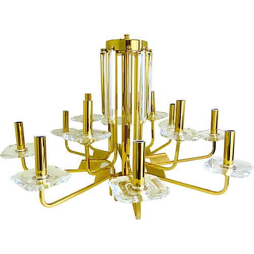 1970s Brass & Lucite Chandelier
