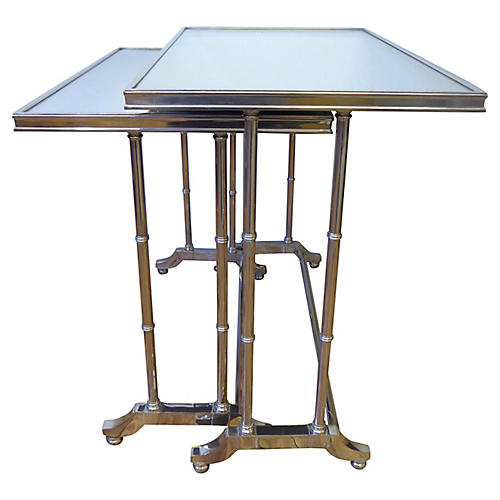 Bronze Mirrored Nesting Tables, S/2