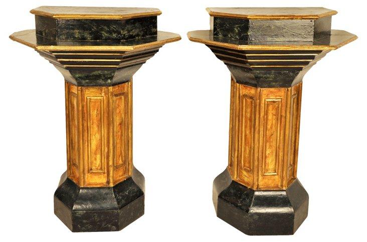 Faux-Marble Pedestals, Pair