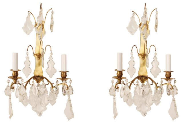 French Crystal Sconces, Pair