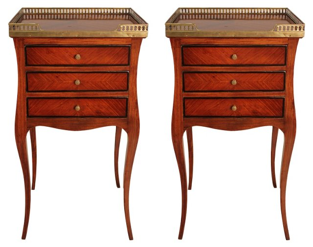 19th-C. French Tulipwood Tables, Pair