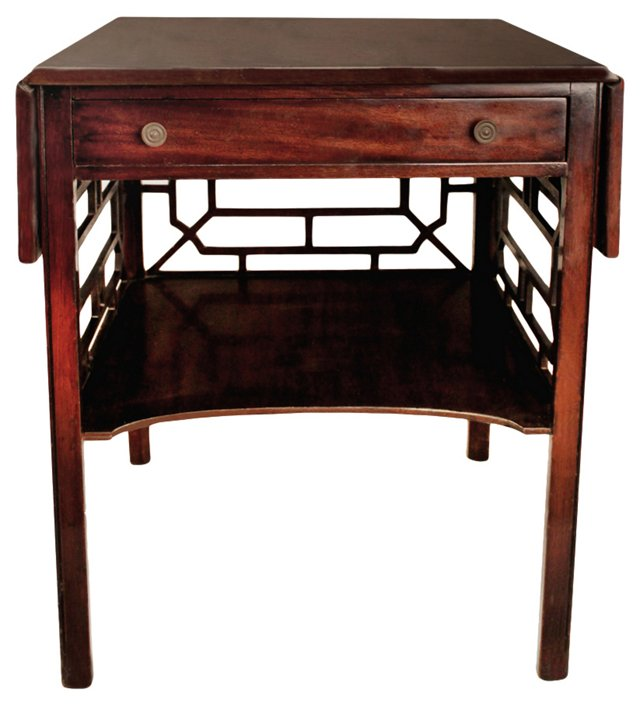 Chinese Chippendale Drop-Leaf Table