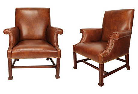 Georgian Leather Library Chairs, Pair