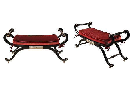 Hollywood Regency-Style Benches, S/2