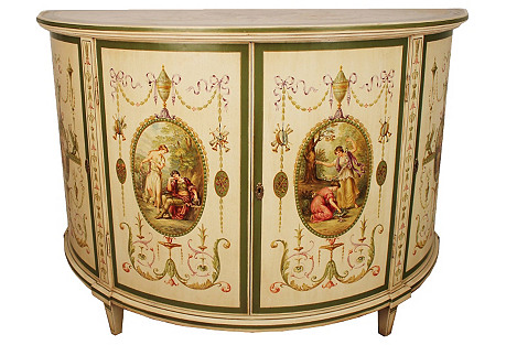 Hand-Painted English Cabinet