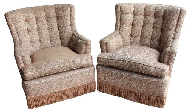 Gold Damask Lounge Chairs, Pair