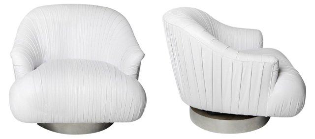 Milo  Baughman Swivel Chairs, Pair