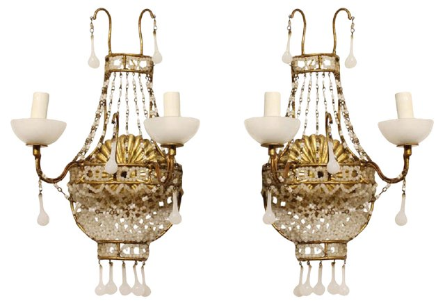 French White Opaline Sconces, Pair