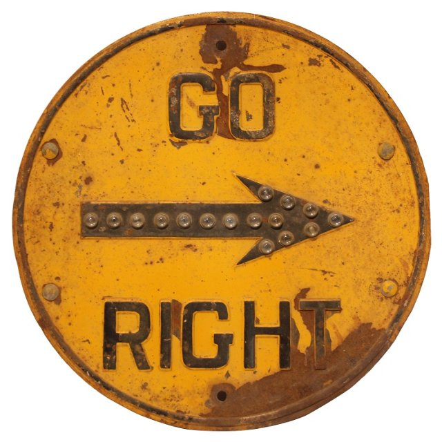 1930s Go Right Sign