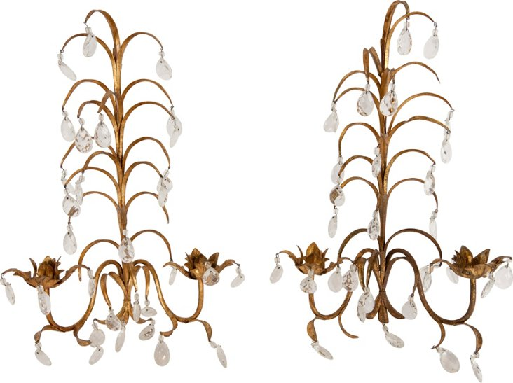 Gilt Wall Sconces, Pair