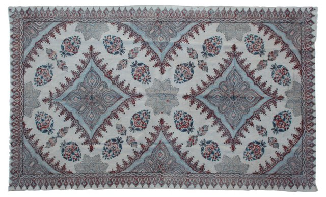 Blue & Red Indian Textile, 1.8 Yds