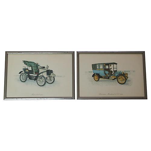 Automobile Prints, Pair