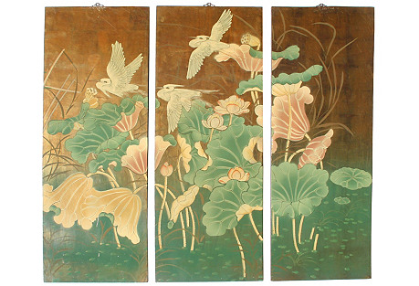 Laquered Japanese Panels, S/3