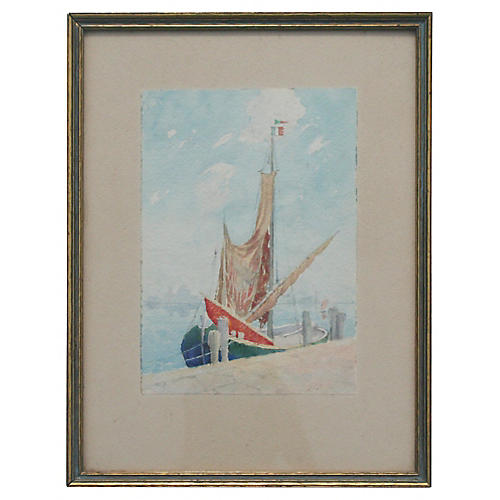 French Sailboat Watercolor