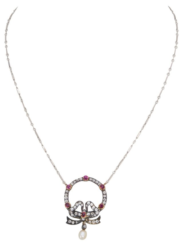 Victorian Diamond & Ruby Bow Necklace