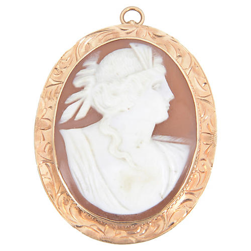 Victorian Shell & Gold Cameo Brooch