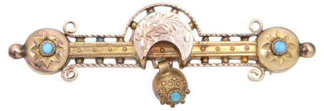 Victorian Gold & Turquoise Brooch